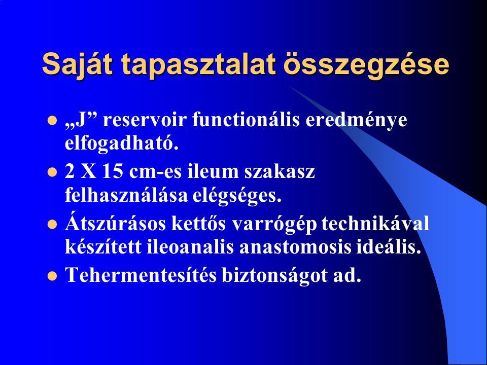 """Saját tapasztalat összegzése """"J"""" reservoir functionális eredménye elfogadható. 2 X 15 cm-es ileum szakasz felhasználása elégséges. Átszúrásos kettős v"""