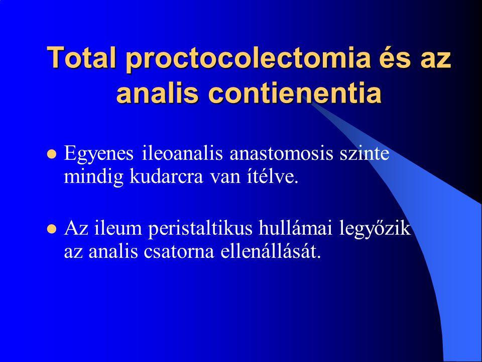 Total proctocolectomia és az analis contienentia Egyenes ileoanalis anastomosis szinte mindig kudarcra van ítélve. Az ileum peristaltikus hullámai leg