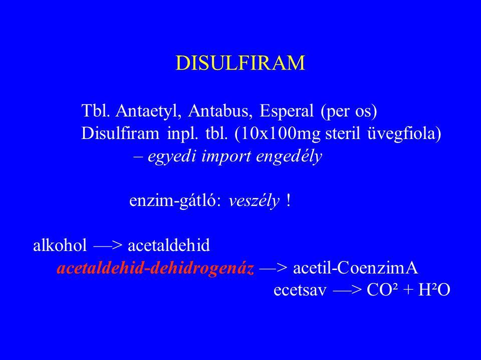 DISULFIRAM Tbl. Antaetyl, Antabus, Esperal (per os) Disulfiram inpl. tbl. (10x100mg steril üvegfiola) – egyedi import engedély enzim-gátló: veszély !