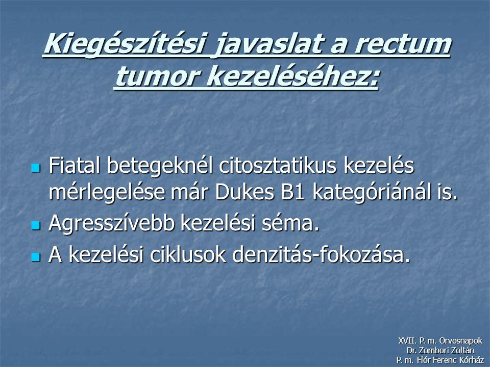 Kiegészítési javaslat a rectum tumor kezeléséhez: Fiatal betegeknél citosztatikus kezelés mérlegelése már Dukes B1 kategóriánál is. Fiatal betegeknél