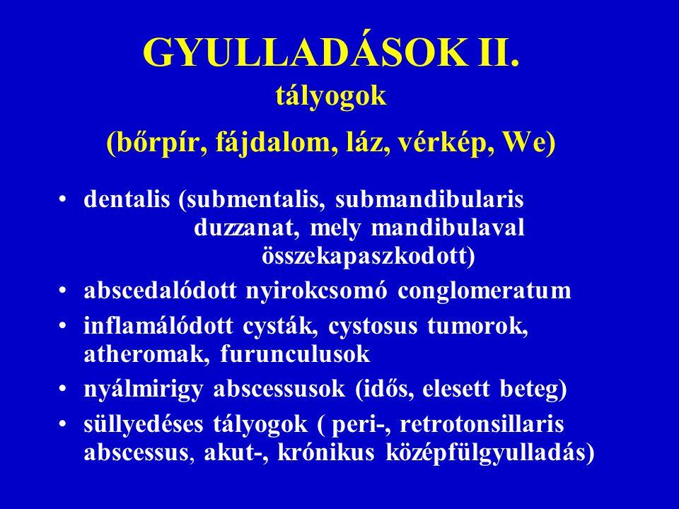 GYULLADÁSOK II. tályogok (bőrpír, fájdalom, láz, vérkép, We) dentalis (submentalis, submandibularis duzzanat, mely mandibulaval összekapaszkodott) abs