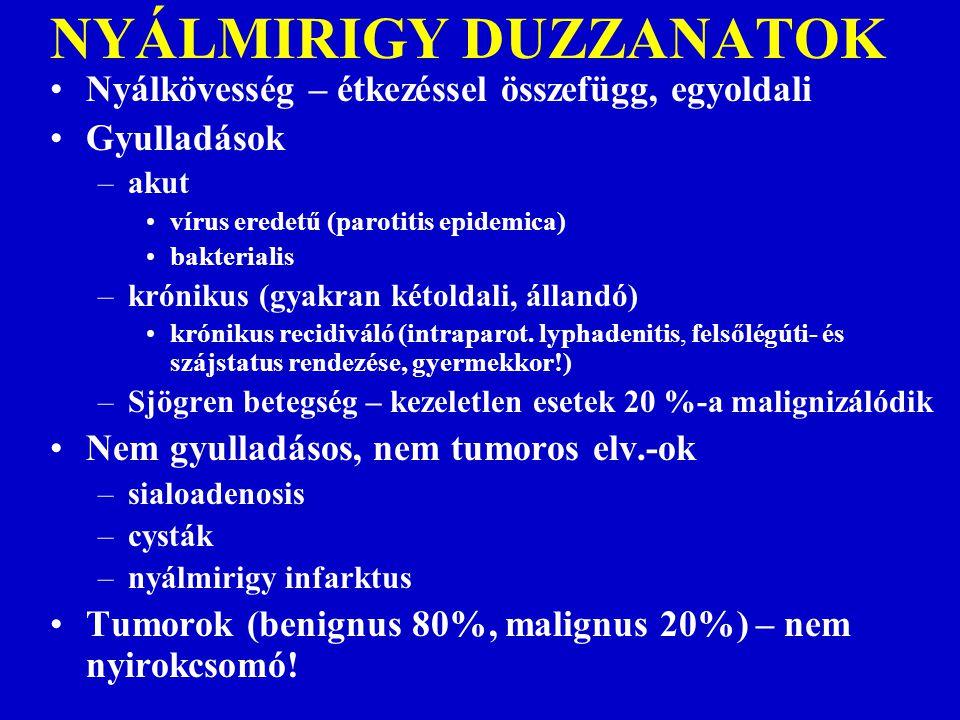 NEM GYULLADÁSOS, NEM TUMOROS DUZZANATOK Pajzsmirigy - labor, scintigraphia, UH vezérelt cytológia Nyelőcső diverticulum – nyelési rtg, endoscopia Laryngokele – endoscopia, CT, MR, UH