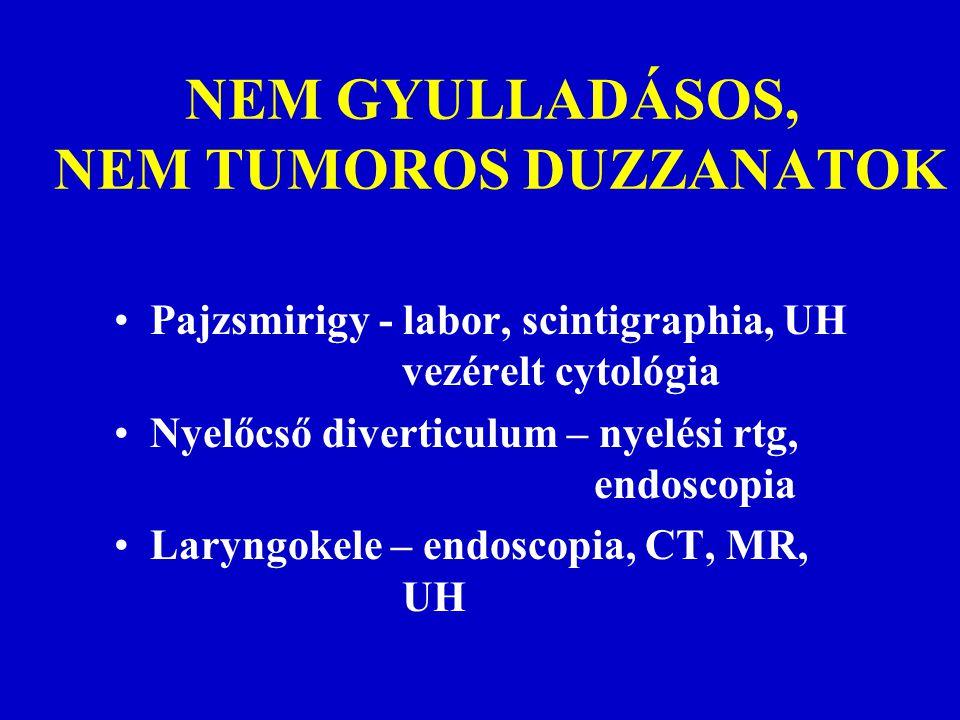 NEM GYULLADÁSOS, NEM TUMOROS DUZZANATOK Pajzsmirigy - labor, scintigraphia, UH vezérelt cytológia Nyelőcső diverticulum – nyelési rtg, endoscopia Lary