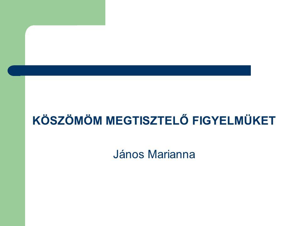 KÖSZÖMÖM MEGTISZTELŐ FIGYELMÜKET János Marianna