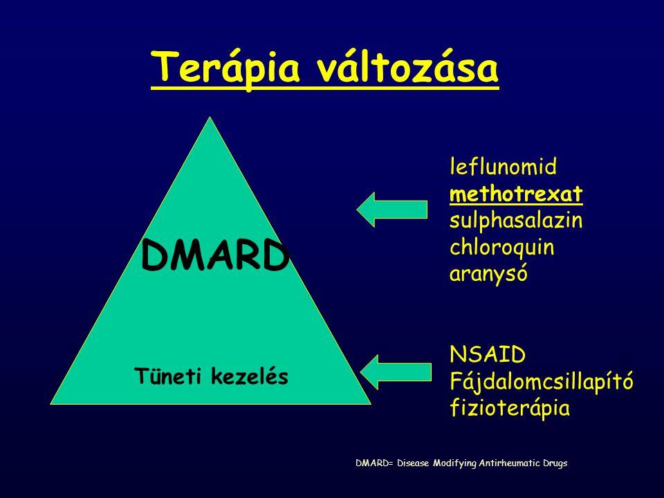 Terápia változása Tüneti kezelés DMARD NSAID Fájdalomcsillapító fizioterápia leflunomid methotrexat sulphasalazin chloroquin aranysó DMARD= Disease Mo