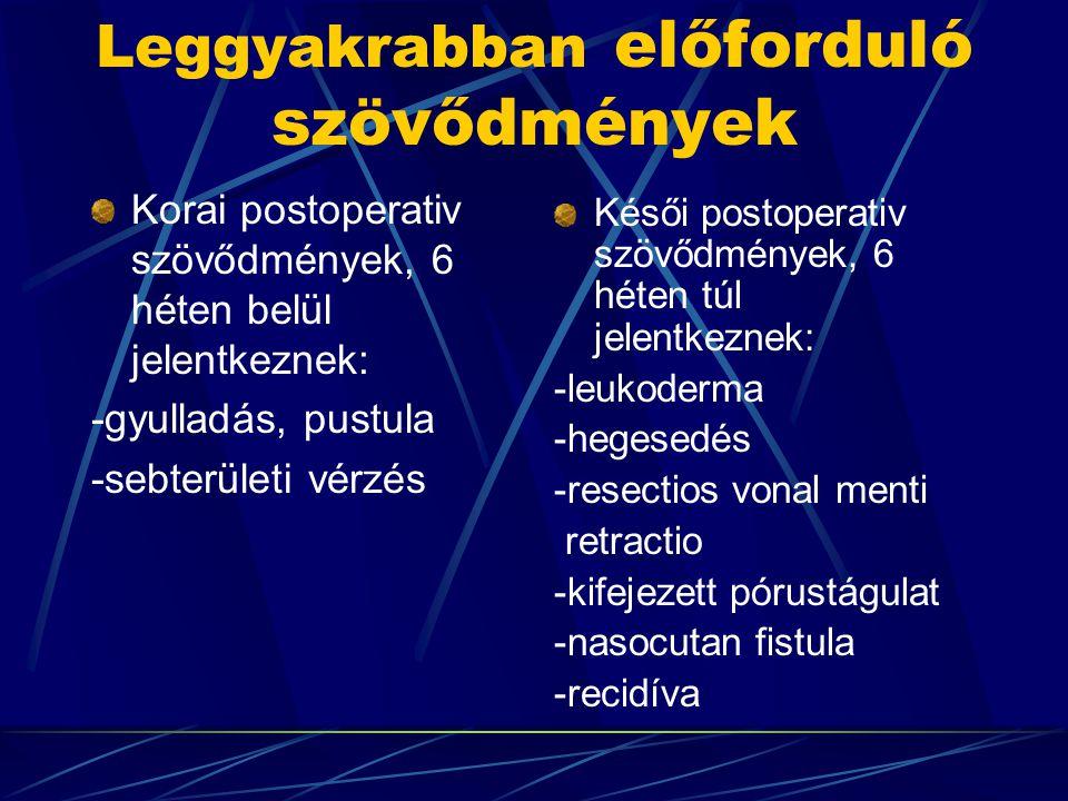 Leggyakrabban előforduló szövődmények Korai postoperativ szövődmények, 6 héten belül jelentkeznek: -gyulladás, pustula -sebterületi vérzés Késői postoperativ szövődmények, 6 héten túl jelentkeznek: -leukoderma -hegesedés -resectios vonal menti retractio -kifejezett pórustágulat -nasocutan fistula -recidíva