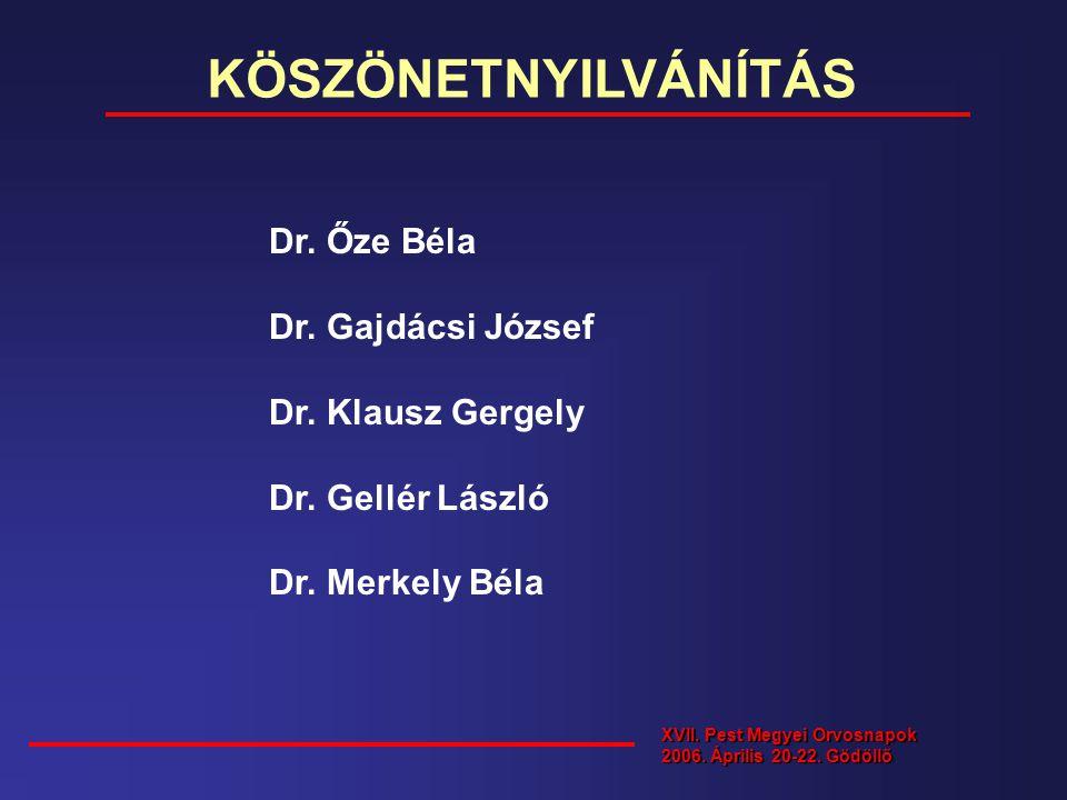 KÖSZÖNETNYILVÁNÍTÁS Dr. Őze Béla Dr. Gajdácsi József Dr. Klausz Gergely Dr. Gellér László Dr. Merkely Béla XVII. Pest Megyei Orvosnapok 2006. Április