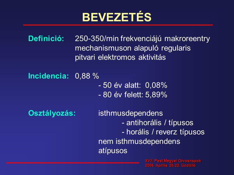 BEVEZETÉS Definició: 250-350/min frekvenciájú makroreentry mechanismuson alapuló regularis pitvari elektromos aktivitás Incidencia: 0,88 % - 50 év ala