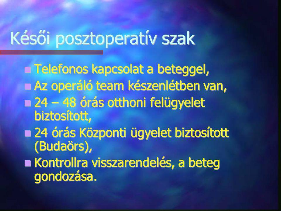 Késői posztoperatív szak Telefonos kapcsolat a beteggel, Telefonos kapcsolat a beteggel, Az operáló team készenlétben van, Az operáló team készenlétbe