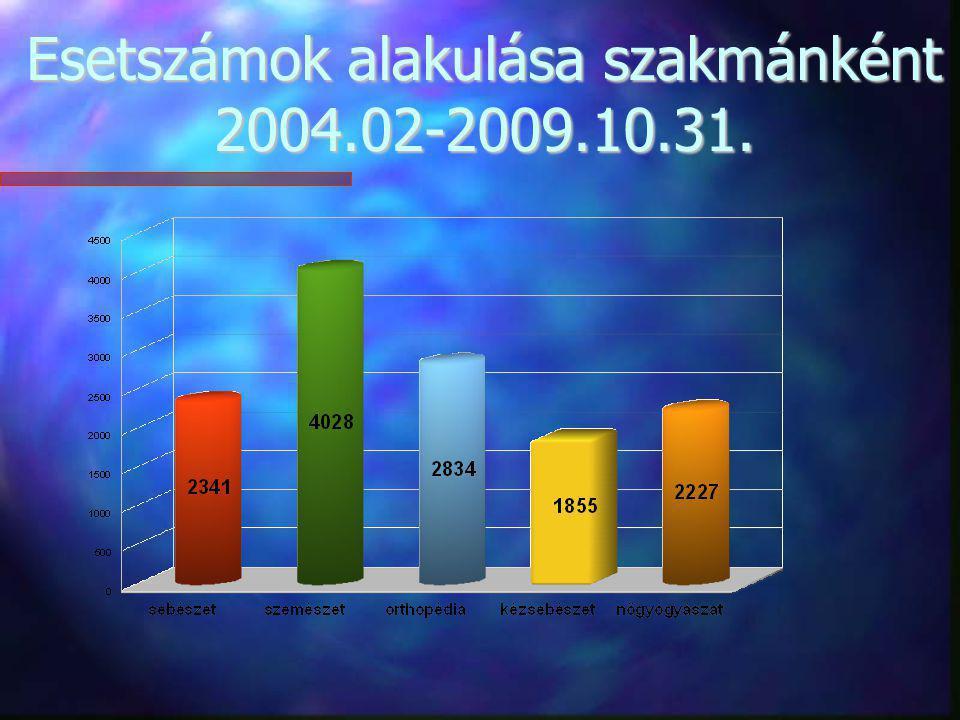 Esetszámok alakulása szakmánként 2004.02-2009.10.31.