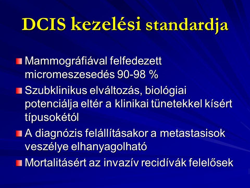 DCIS kezelési standardja Képalkotó szempontok: - meszesedés -mammogram a valósnál kisebbnek jelezheti -szinkron bilateralis DCIS -MR nem specifikus