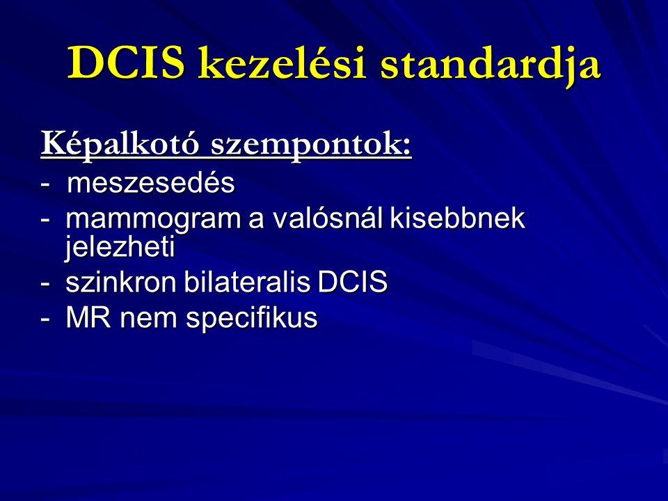 DCIS kezelési standardja Sebészeti szempontok: - Excisio – ablatio - rekonstrukció -20 %-ban invazív cc-re derül fény -5% axilla pozitivitás fel nem ismert invazió miatt -Mastectomiát igénylő, nagyméretű DCIS esetén mérlegelni kell az I.
