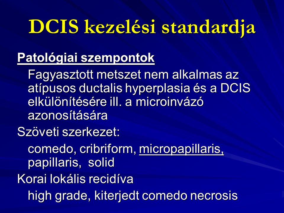 DCIS kezelési standardja Sugaras szempontok LCIS - emlőrák fokozott kockázatát jelzi Mastectomia után 1-2 % helyi vagy távoli kiújulás – túlkezelés DCIS kiújulás sugár után 8,2 % sugár nélkül 13,4 % sugár nélkül 13,4 % Invazív cc kiújulás sugár után 3,9 % sugár nélkül 13,4 % sugár nélkül 13,4 %