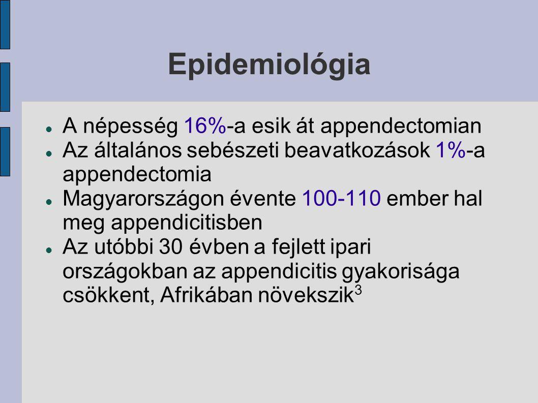 Epidemiológia A népesség 16%-a esik át appendectomian Az általános sebészeti beavatkozások 1%-a appendectomia Magyarországon évente 100-110 ember hal