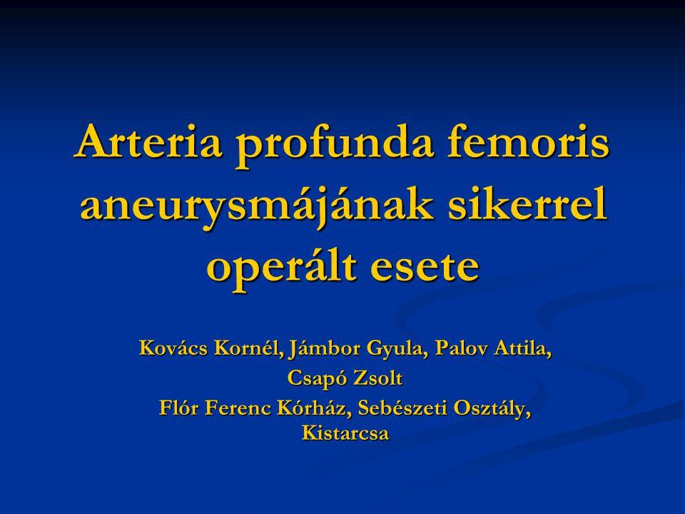 Arteria profunda femoris aneurysmájának sikerrel operált esete Kovács Kornél, Jámbor Gyula, Palov Attila, Csapó Zsolt Flór Ferenc Kórház, Sebészeti Osztály, Kistarcsa