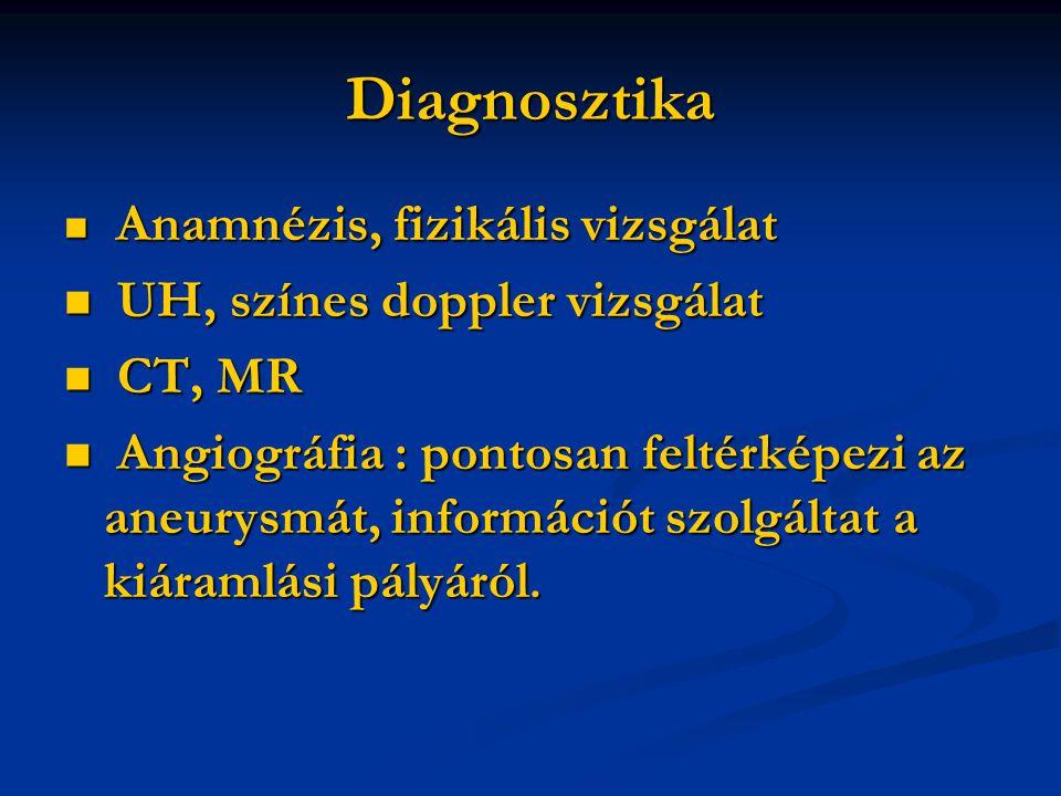 Diagnosztika Anamnézis, fizikális vizsgálat Anamnézis, fizikális vizsgálat UH, színes doppler vizsgálat UH, színes doppler vizsgálat CT, MR CT, MR Angiográfia : pontosan feltérképezi az aneurysmát, információt szolgáltat a kiáramlási pályáról.
