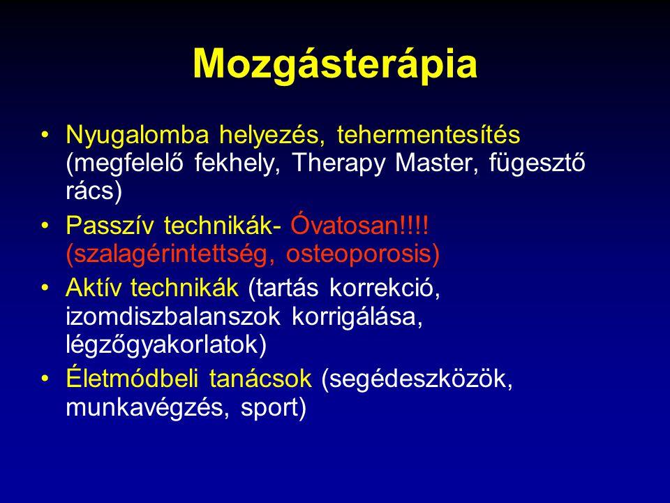 Mozgásterápia Nyugalomba helyezés, tehermentesítés (megfelelő fekhely, Therapy Master, fügesztő rács) Passzív technikák- Óvatosan!!!.