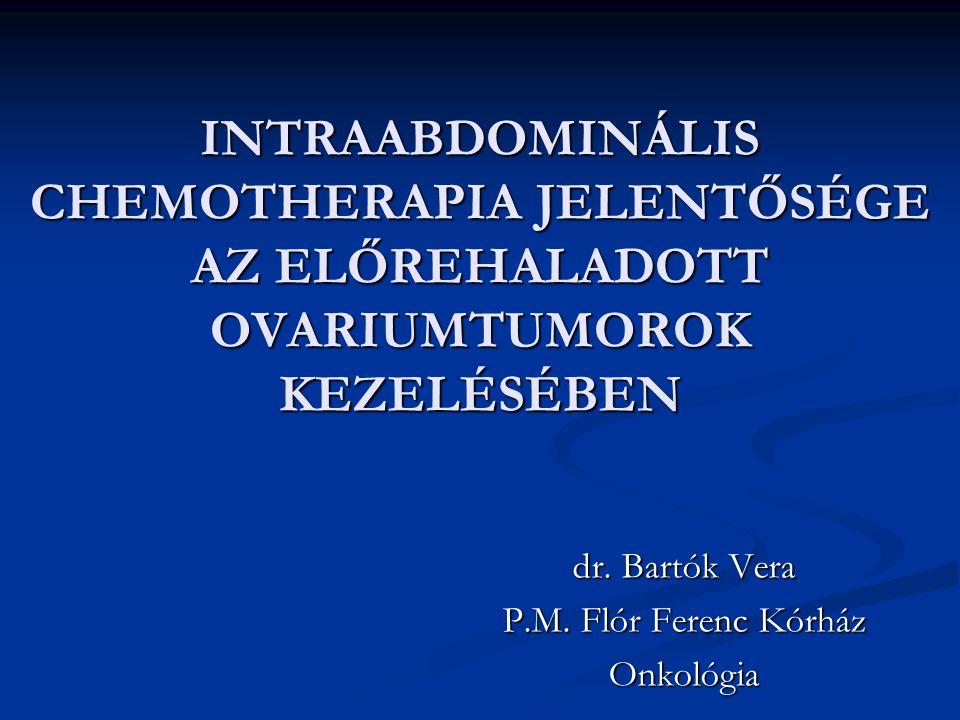 Az IP antitumorális therapia problémái A limitált mértékű gyógyszerfelszívódás A limitált mértékű gyógyszerfelszívódás A residuális tumor átmérője A residuális tumor átmérője Nem egyenletes az antitumoralis szer megoszlása az intraabdominális térben Nem egyenletes az antitumoralis szer megoszlása az intraabdominális térben