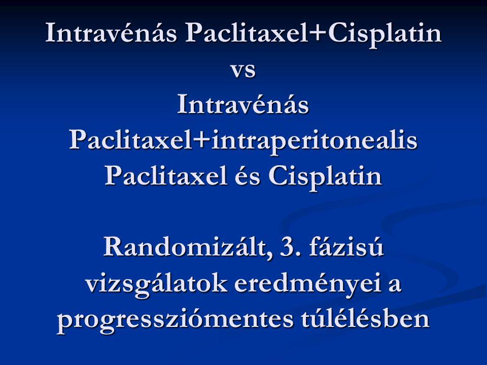 Intravénás Paclitaxel+Cisplatin vs Intravénás Paclitaxel+intraperitonealis Paclitaxel és Cisplatin Randomizált, 3. fázisú vizsgálatok eredményei a pro