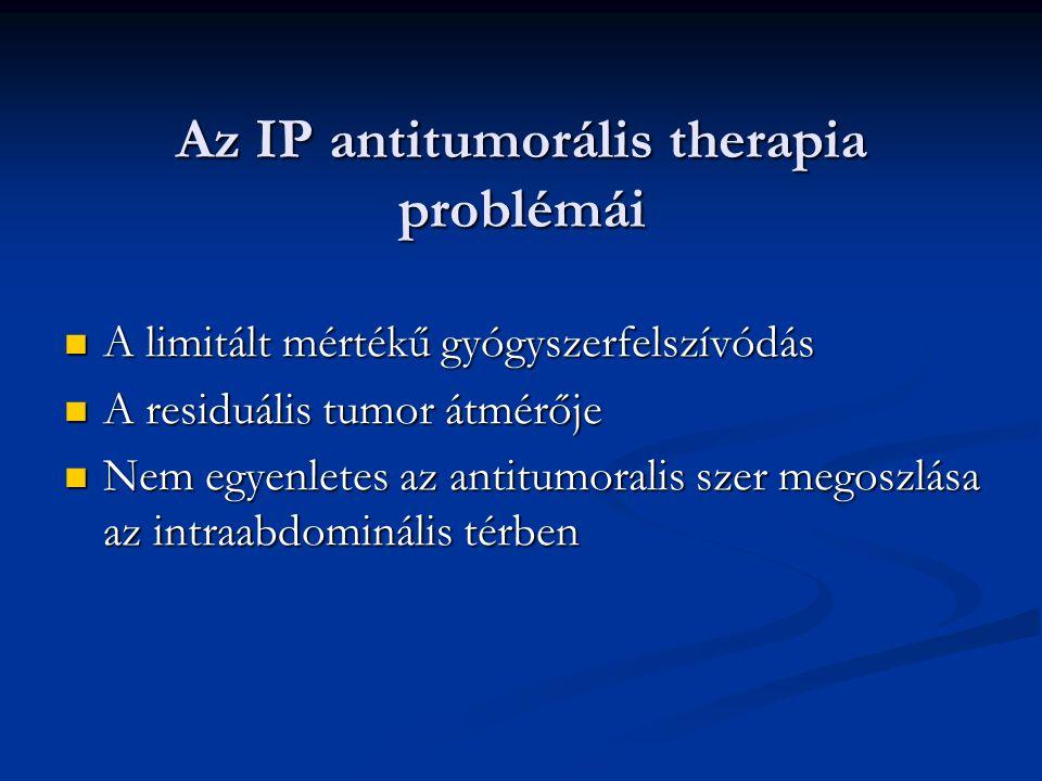 Az IP antitumorális therapia problémái A limitált mértékű gyógyszerfelszívódás A limitált mértékű gyógyszerfelszívódás A residuális tumor átmérője A r