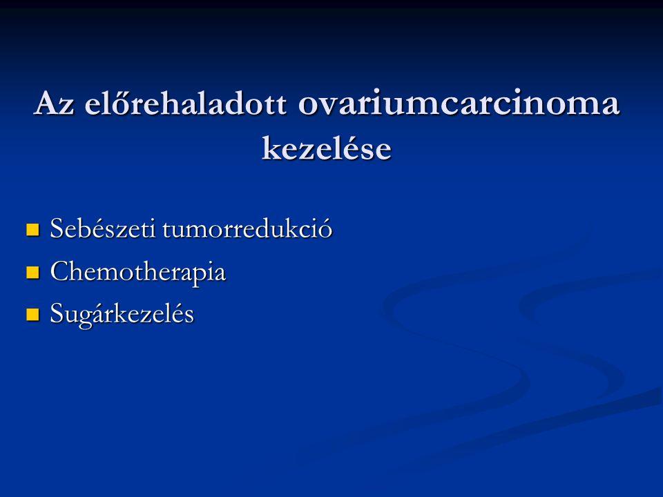 Az előrehaladott ovariumcarcinoma kezelése Sebészeti tumorredukció Sebészeti tumorredukció Chemotherapia Chemotherapia Sugárkezelés Sugárkezelés