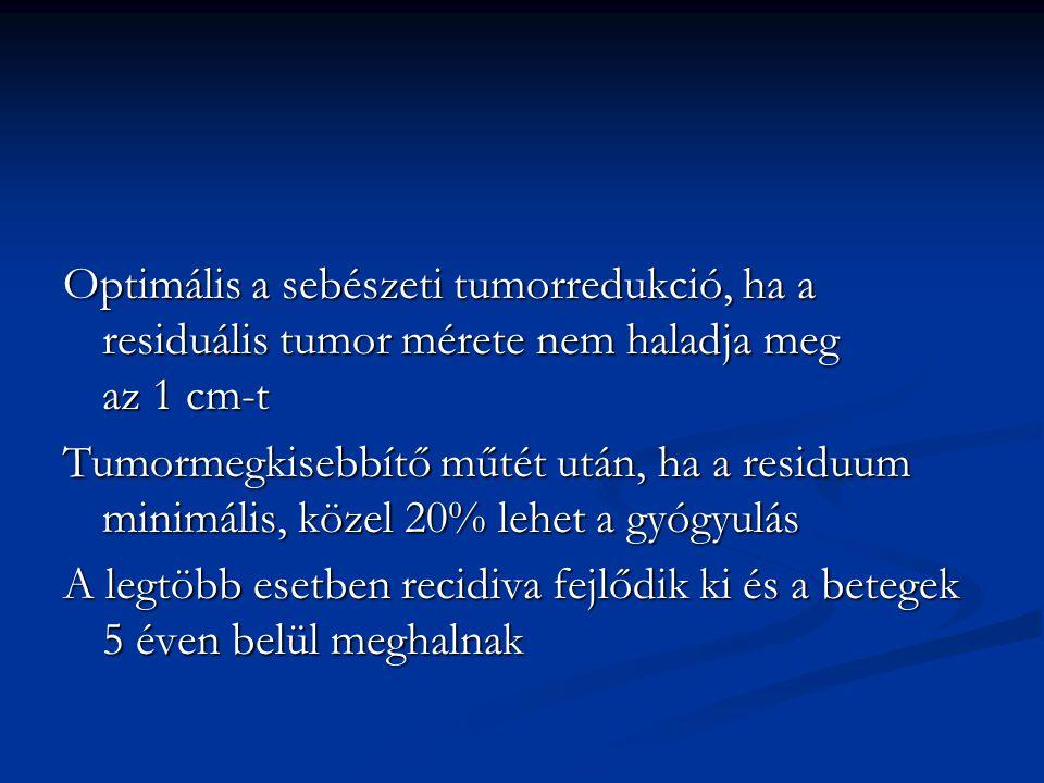 Optimális a sebészeti tumorredukció, ha a residuális tumor mérete nem haladja meg az 1 cm-t Tumormegkisebbítő műtét után, ha a residuum minimális, köz