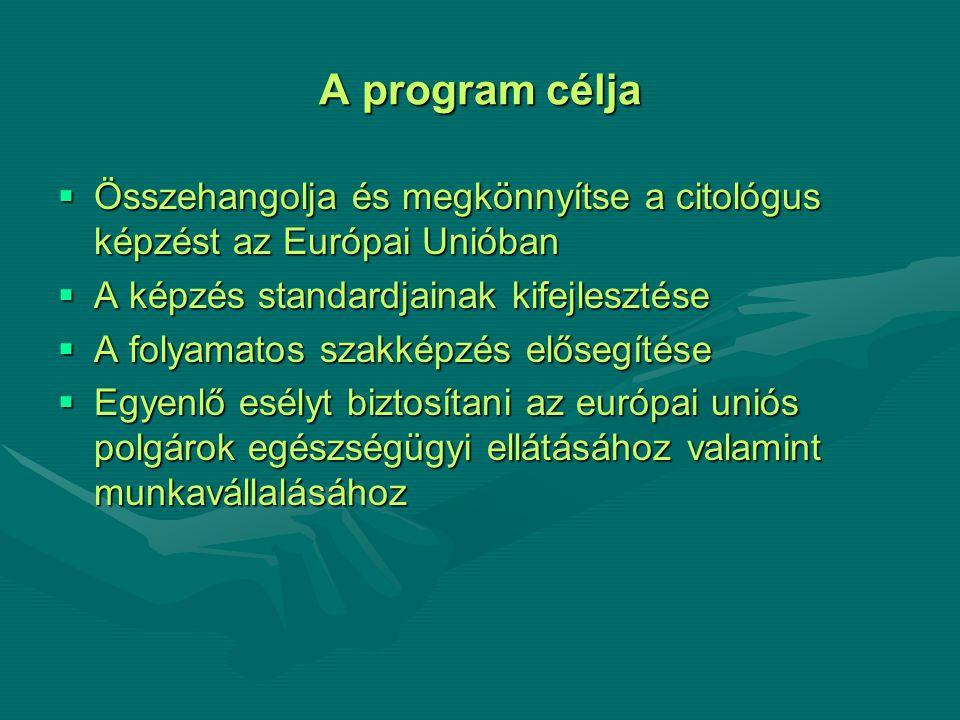 A program célja  Összehangolja és megkönnyítse a citológus képzést az Európai Unióban  A képzés standardjainak kifejlesztése  A folyamatos szakképzés elősegítése  Egyenlő esélyt biztosítani az európai uniós polgárok egészségügyi ellátásához valamint munkavállalásához