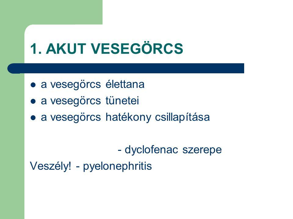1. AKUT VESEGÖRCS a vesegörcs élettana a vesegörcs tünetei a vesegörcs hatékony csillapítása - dyclofenac szerepe Veszély! - pyelonephritis