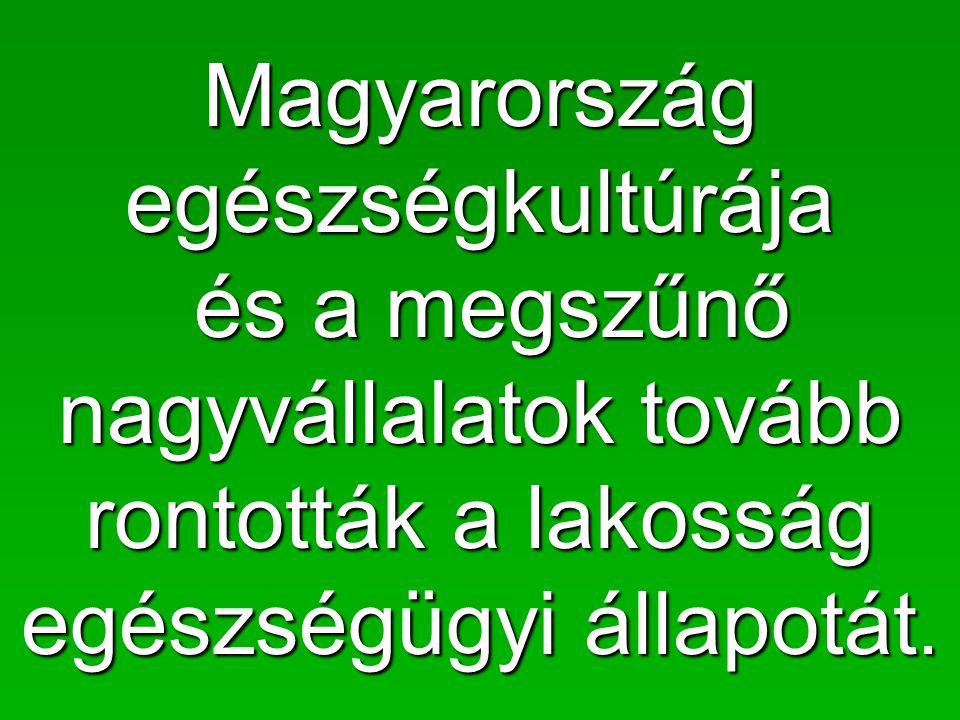 Magyarország egészségkultúrája és a megszűnő nagyvállalatok tovább rontották a lakosság egészségügyi állapotát.