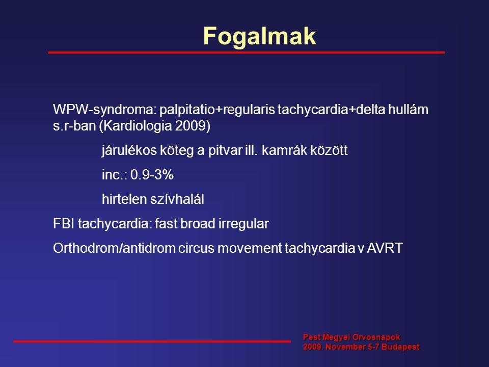 Fogalmak Pest Megyei Orvosnapok 2009. November 5-7 Budapest WPW-syndroma: palpitatio+regularis tachycardia+delta hullám s.r-ban (Kardiologia 2009) jár
