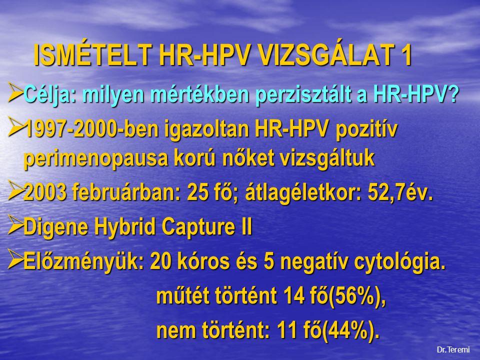 ISMÉTELT HR-HPV VIZSGÁLAT 2  MHT-ben részesült: 100%.