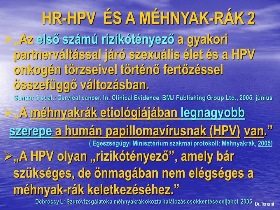 """HR-HPV ÉS A MÉHNYAK-RÁK 3 Az Egészségügyi Minisztérium szakmai protokollja - Méhnyakrák (2005) HR-HPV ÉS A MÉHNYAK-RÁK 3 Az Egészségügyi Minisztérium szakmai protokollja - Méhnyakrák (2005)  Etiológia: Kialakulásában számos tényező játszik szerepet : – korán kezdett nemi élet férfi smegma – sok partner rossz szociális viszonyok – sok szülés, abortus alultápláltság – gyulladás dohányzás – rossz hygienés körülmények Human Papilloma Virus*  """"Praeblastomára gyanús leletek esetén HPV-szűrés, illetve tipizálás javasolt. ."""