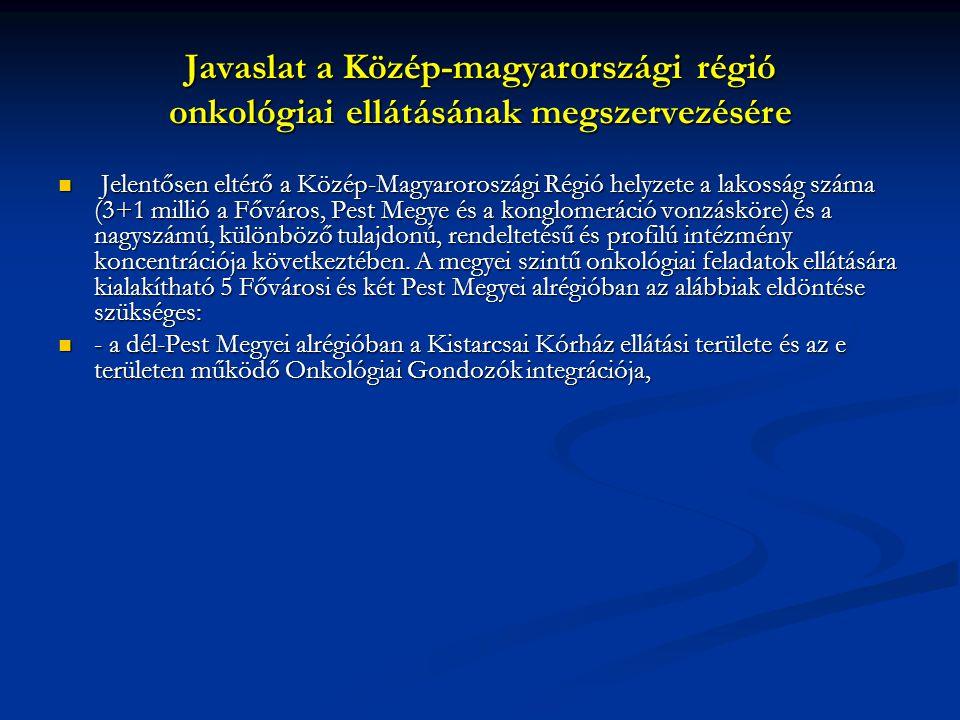 Javaslat a Közép-magyarországi régió onkológiai ellátásának megszervezésére Jelentősen eltérő a Közép-Magyaroroszági Régió helyzete a lakosság száma (3+1 millió a Főváros, Pest Megye és a konglomeráció vonzásköre) és a nagyszámú, különböző tulajdonú, rendeltetésű és profilú intézmény koncentrációja következtében.
