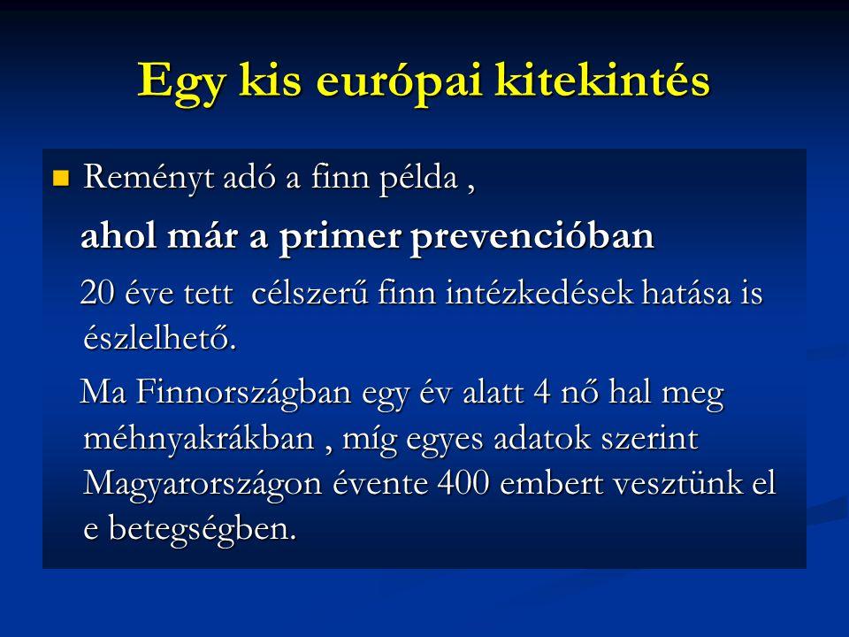Egy kis európai kitekintés Reményt adó a finn példa, Reményt adó a finn példa, ahol már a primer prevencióban ahol már a primer prevencióban 20 éve tett célszerű finn intézkedések hatása is észlelhető.