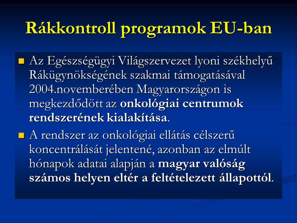 Rákkontroll programok EU-ban Az Egészségügyi Világszervezet lyoni székhelyű Rákügynökségének szakmai támogatásával 2004.novemberében Magyarországon is megkezdődött az onkológiai centrumok rendszerének kialakítása.