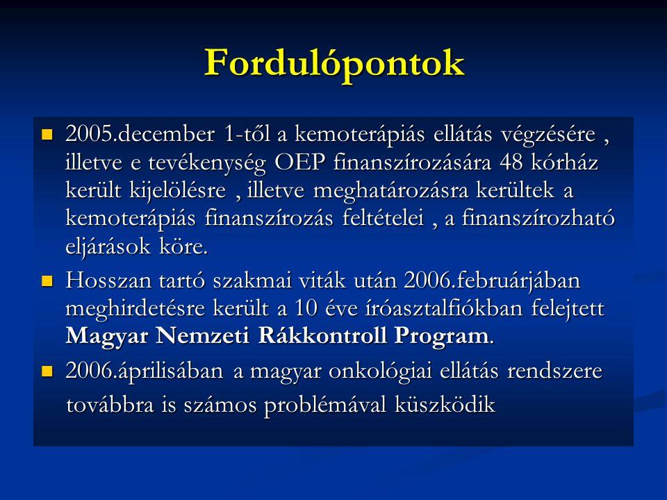 Fordulópontok 2005.december 1-től a kemoterápiás ellátás végzésére, illetve e tevékenység OEP finanszírozására 48 kórház került kijelölésre, illetve m
