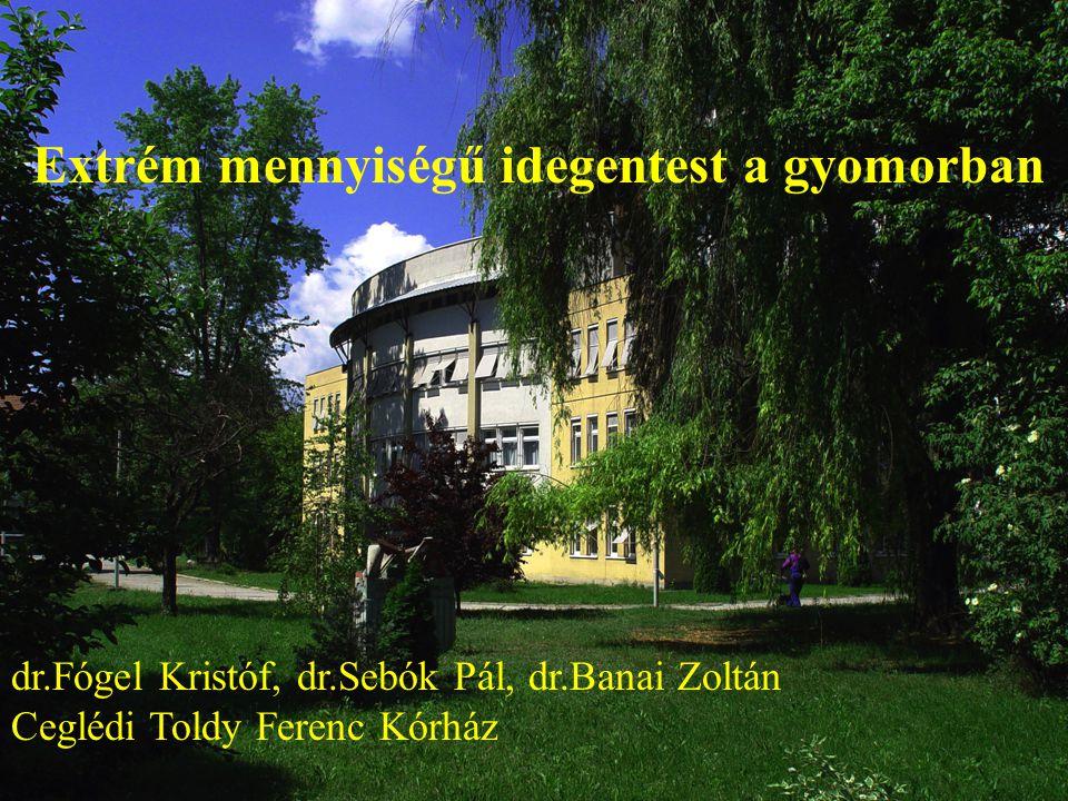 Extrém mennyiségű idegentest a gyomorban dr.Fógel Kristóf, dr.Sebók Pál, dr.Banai Zoltán Ceglédi Toldy Ferenc Kórház