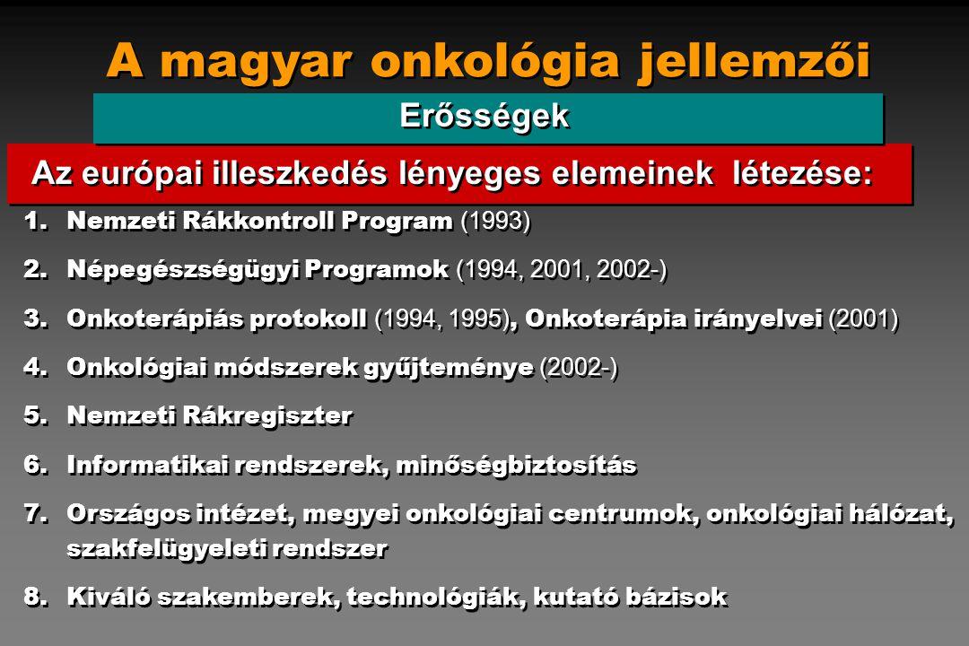 A magyar onkológia jellemzői Erősségek 1.Nemzeti Rákkontroll Program (1993) 2.Népegészségügyi Programok (1994, 2001, 2002-) 3.Onkoterápiás protokoll (