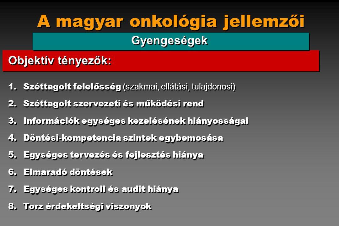 A magyar onkológia jellemzői Gyengeségek 1.Széttagolt felelősség (szakmai, ellátási, tulajdonosi) 2.Széttagolt szervezeti és működési rend 3.Informáci
