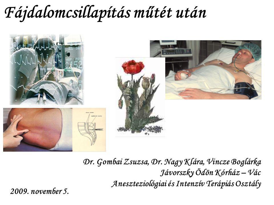 Dr. Gombai Zsuzsa, Dr. Nagy Klára, Vincze Boglárka Jávorszky Ödön Kórház – Vác Aneszteziológiai és Intenzív Terápiás Osztály 2009. november 5. Fájdalo