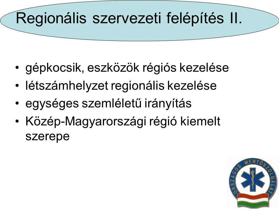 Regionális szervezeti felépítés II. gépkocsik, eszközök régiós kezelése létszámhelyzet regionális kezelése egységes szemléletű irányítás Közép-Magyaro