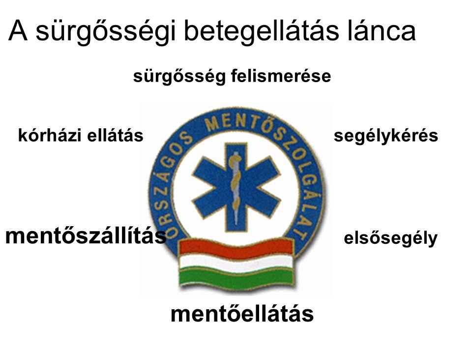 A sürgősségi betegellátás lánca sürgősség felismerése segélykérés elsősegély mentőellátás mentőszállítás kórházi ellátás
