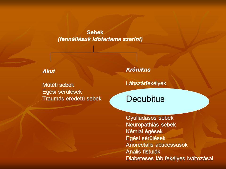 Sebek (fennállásuk időtartama szerint) Akut Műtéti sebek Égési sérülések Traumás eredetű sebek Krónikus Lábszárfekélyek Decubitus Gyulladásos sebek Ne