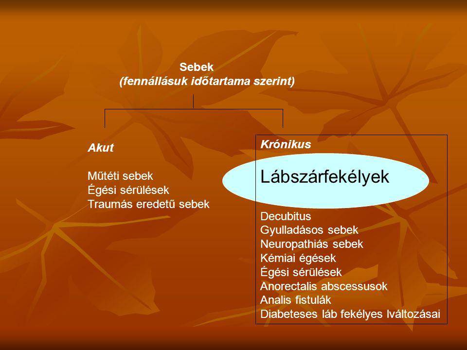 A sebgyógyulást befolyásoló tényezők: - Gyógyszerek (glikokorticoidok, antibiotikumok, cytostatikumok, immunszupresszív anyagok) - Anyagcserezavarok (pl.: diab.