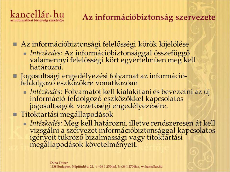 Az információbiztonság szervezete Az információbiztonsági felelősségi körök kijelölése Intézkedés: Az információbiztonsággal összefüggő valamennyi fel