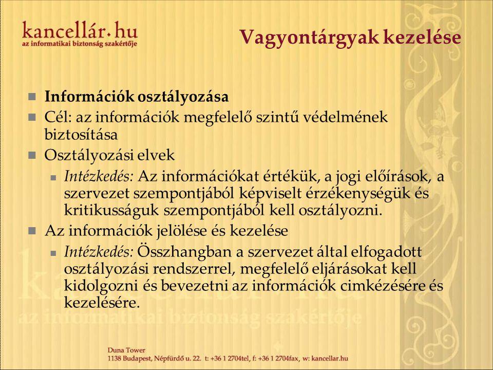 Vagyontárgyak kezelése Információk osztályozása Cél: az információk megfelelő szintű védelmének biztosítása Osztályozási elvek Intézkedés: Az informác