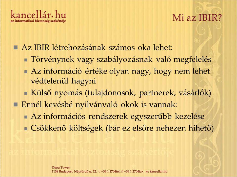 Mi az IBIR? Az IBIR létrehozásának számos oka lehet: Törvénynek vagy szabályozásnak való megfelelés Az információ értéke olyan nagy, hogy nem lehet vé