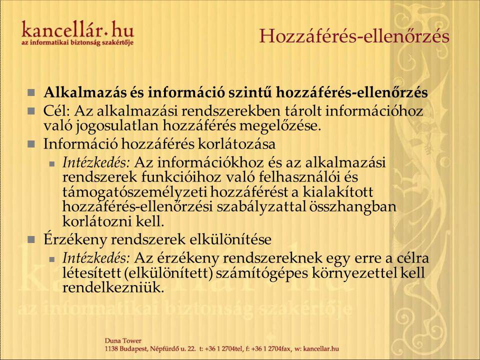 Hozzáférés-ellenőrzés Alkalmazás és információ szintű hozzáférés-ellenőrzés Cél: Az alkalmazási rendszerekben tárolt információhoz való jogosulatlan h