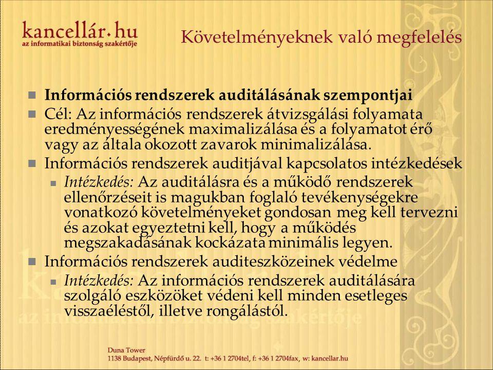 Követelményeknek való megfelelés Információs rendszerek auditálásának szempontjai Cél: Az információs rendszerek átvizsgálási folyamata eredményességé
