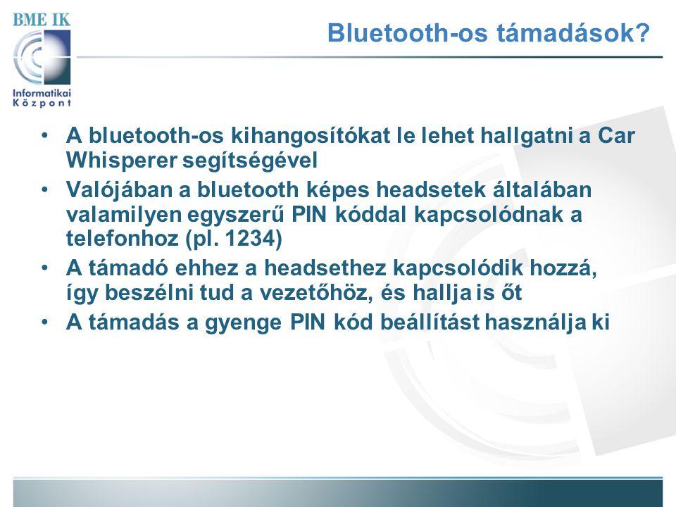 A bluetooth-os kihangosítókat le lehet hallgatni a Car Whisperer segítségével Valójában a bluetooth képes headsetek általában valamilyen egyszerű PIN